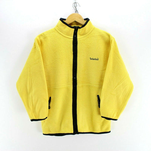 Vintage Timberland Women's Fleece Jacket in Yellow Size 12 Full Zip Jumper