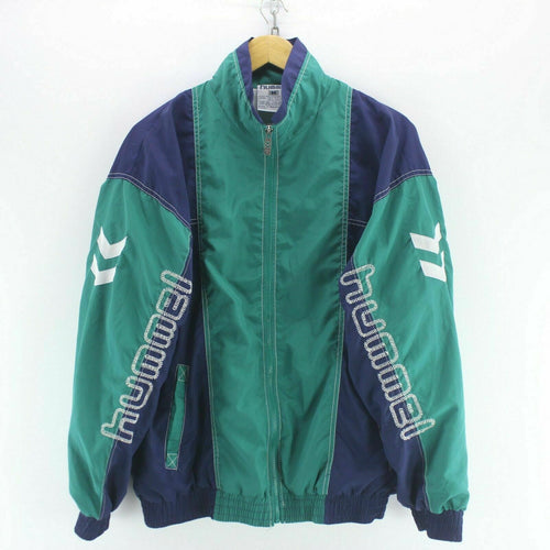 90's Vintage Hummel Track Jacket in Green Size M Long Sleeve Spellout