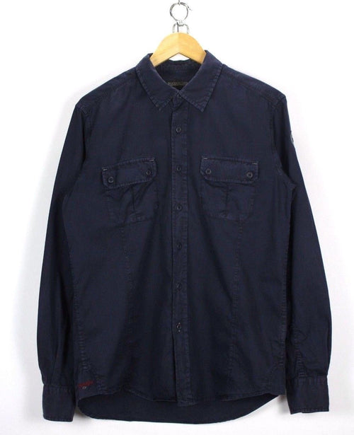 Napapijri Mens Shirt, Size M Medium, navy Blue, Long Sleeve, Cotton TOP