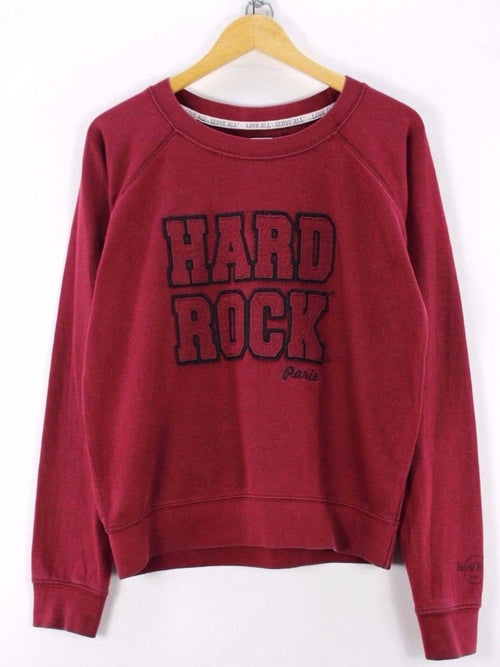 Hard Rock Mens Sweater, Size L, Crew Neck, Red, Cotton, Long Sleeve