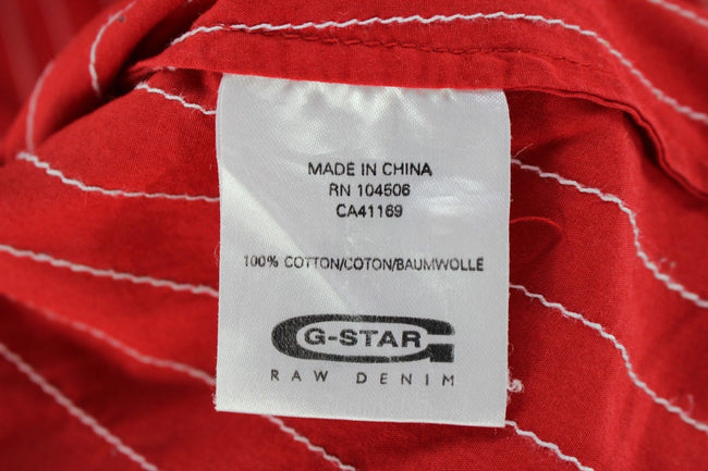 G-Star Mens Shirt, Size M Medium, Red Striped, Short Sleeve, Cotton TOP, Shirt, G-Star, - Top-Garms