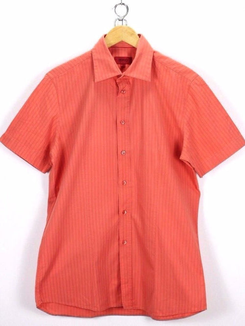 HUGO BOSS Mens Shirt, Size L Large, Pink, Short Sleeve, Casual TOP