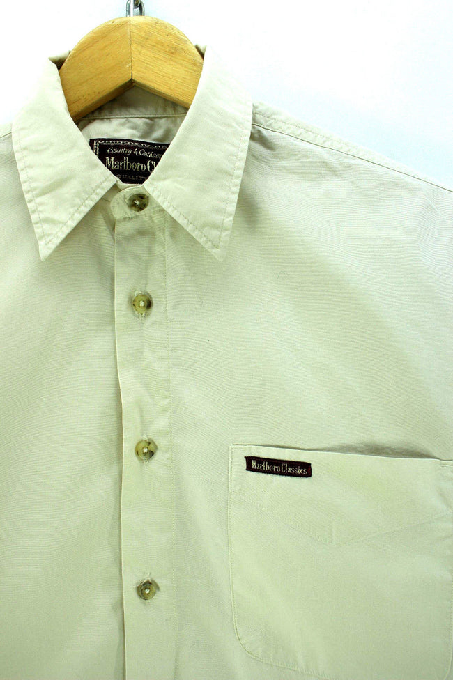 Marlboro Classics Men's Shirt Size S Beige Long Sleeve Cotton Casual CD1426, Shirt, Marlboro Classics, - Top-Garms