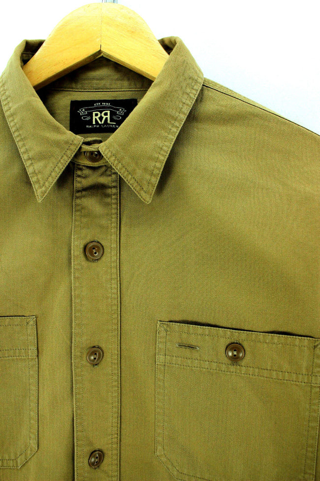 RRL Ralph Lauren Shirt Size M Brown Beige Long Sleeve Thick Shirt, Shirt, Ralph Lauren, - Top-Garms