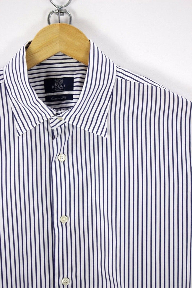 BOGGI MILANO Mens Shirt, Size L Large, Striped, Long Sleeve, Cotton, Shirt, Boggi, - Top-Garms
