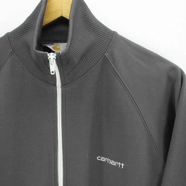 Vintage Carhartt Men's Sweater Size S Dark Grey Full-Zip Tracksuit Top, Sweatshirt, Carhartt, - Top-Garms