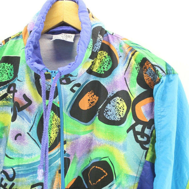 80's Vintage Men's Track Jacket Multicolour Size M Oversize Crazy Pattern, Tracksuit, Top-Garms, - Top-Garms