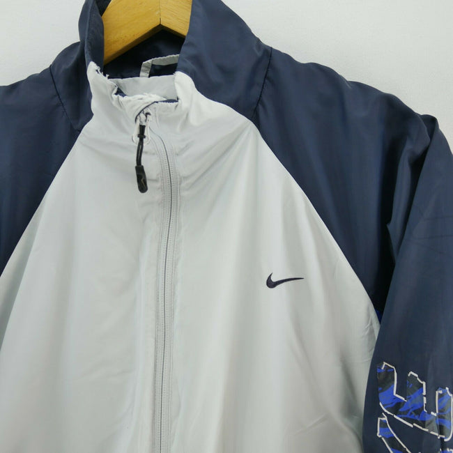 Vintage Nike Men's Track Jacket in Grey/Blue Size S Long Sleeve Full Zip, Tracksuit, Nike, - Top-Garms