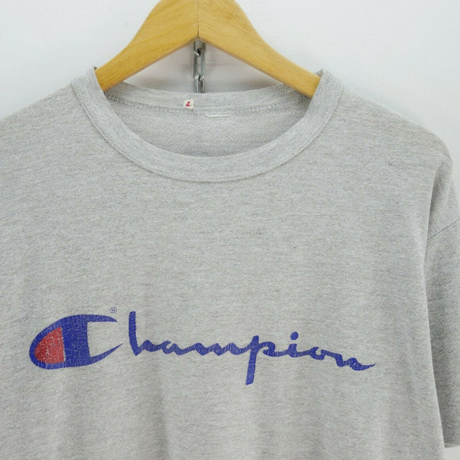 True Vintage Champion T-Shirt in Grey Size M Short Sleeve Big Logo Tee, T-shirt, Champion, - Top-Garms