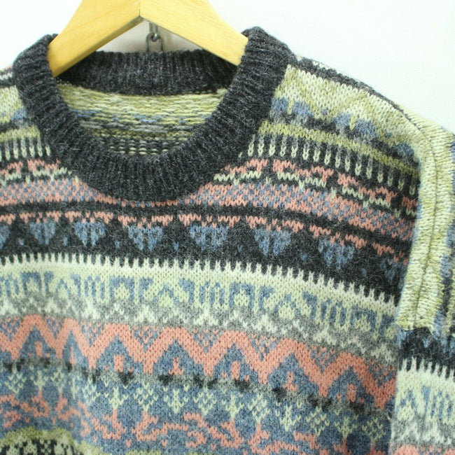 Vintage Men's Nordic Sweater Size L Multicolored Christmas Pattern Wool, Jumper Sweater, Top-Garms, - Top-Garms