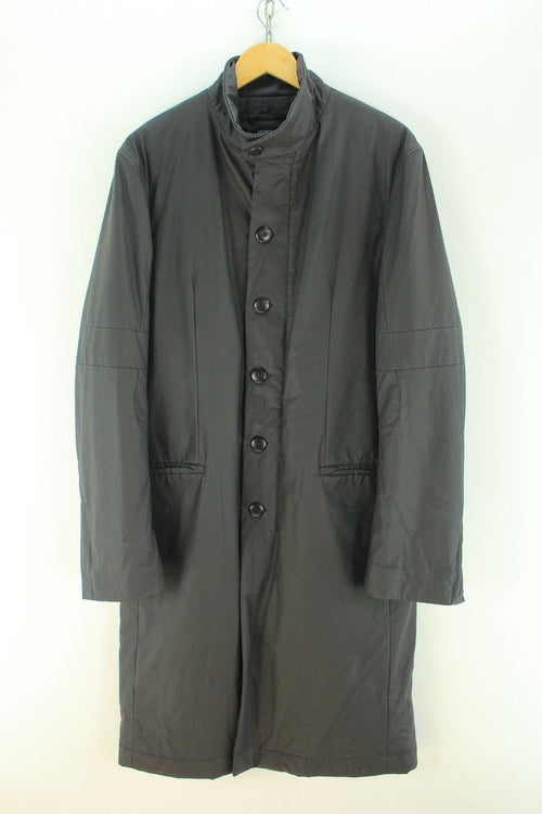 Superb Versus by Versace Coat Size 50 Uk M Black Long Trench Coat