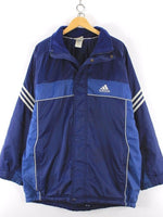 Adidas mens coat, size UK 44 46 XL, Blue, quilted interior, sport jacket - Top-Garms