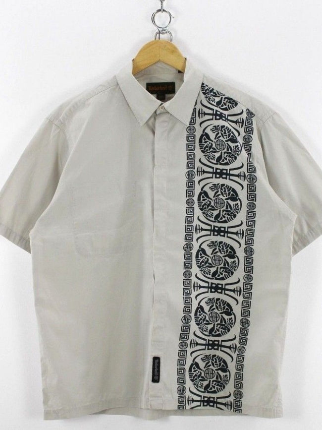 Timberland Mens Casual Shirt, Size M Medium, Grey, Short Sleeve, Cotton, Shirt, Timberland, - Top-Garms