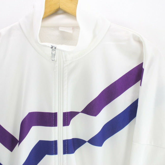 *Vintage Men's Track Jacket White Size 2XL Long Sleeve Zipped Track Top, Tracksuit, Top-Garms, - Top-Garms