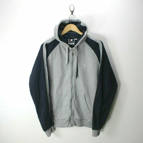 Champion Men's Hooded Sweatshirt in Gray Size XL Full-Zip Front Pockets EF7115
