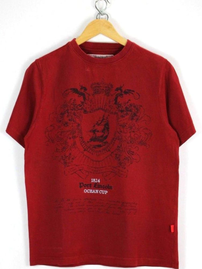 Signum Mens T-Shirt Size S Small Short Sleeve Burgundy Cotton Crew Neck, T-shirt, Signum, - Top-Garms
