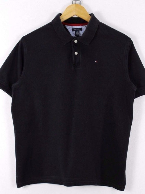 Tommy Hilfiger Womens Polo Shirt, Size XL, Black, Short Sleeve, Cotton