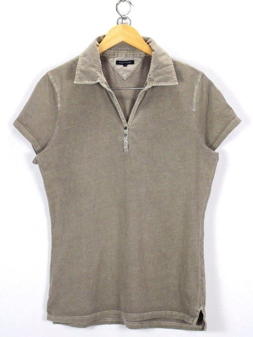 Tommy Hilfiger Womens Polo Shirt Size XL XLarge Short Sleeve Cotton Gray
