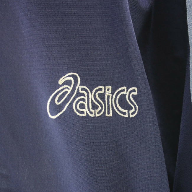 Vintage ASICS Men's Track Jacket Blue Size L Long Sleeve Arm Tape Logo, Tracksuit, asics, - Top-Garms