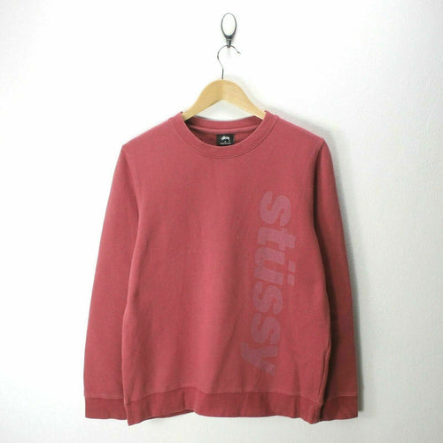 Stussy Men's Sweater in Pink Size S Crew-Neck Spell-Out Cotton Sweatshirt EF7076