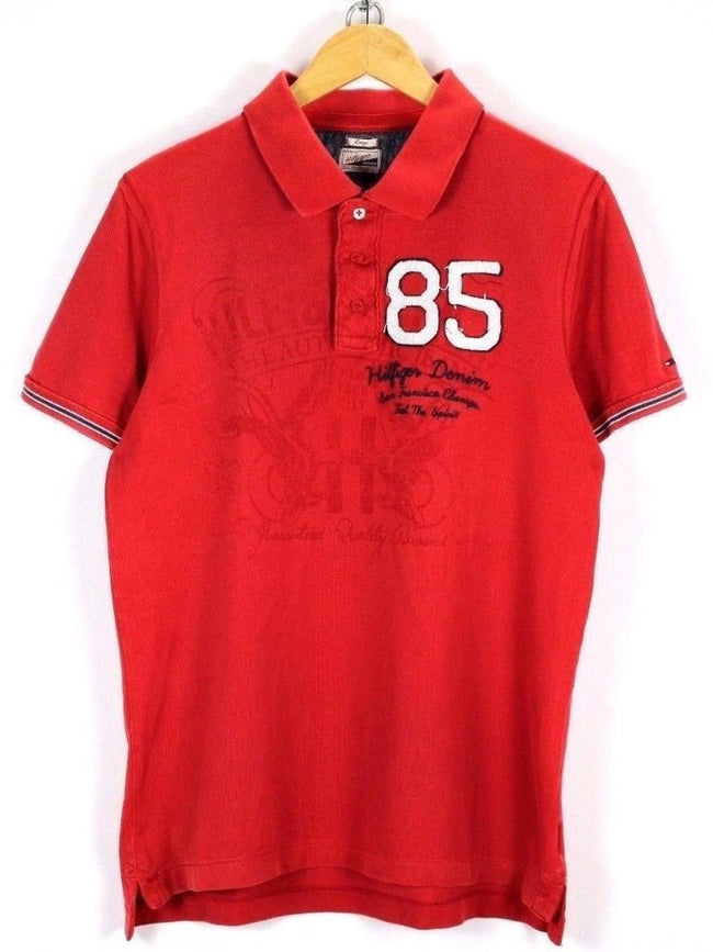 Tommy Hilfiger Mens Polo Shirt Size L Large Red Short Sleeve Summer Top, Polo Shirt, Tommy Hilfiger, - Top-Garms