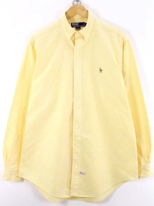 Ralph Lauren Mens Shirt, Size 2XL, 16 1/2, Yellow, Long Sleeve, Cotton