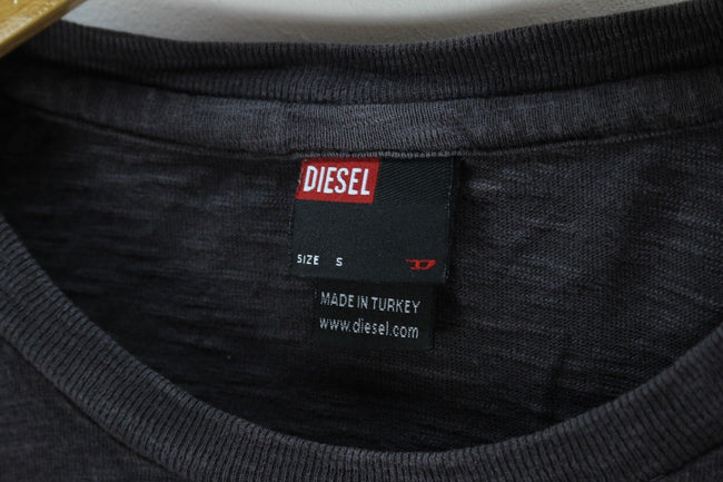 Diesel Mens T-Shirt, Size S, Long Sleeve, Cotton, Grey, T-shirt, Diesel, - Top-Garms