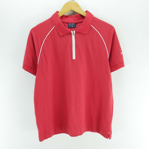 Vintage Champion Men's Polo Shirt in Red Size M Short Sleeve Zip Neck Polo