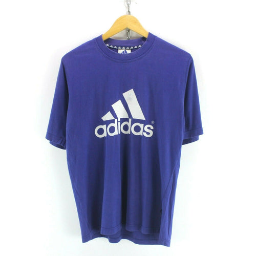 Vintage Adidas Mens Crew Neck TShirt in Blue Size S Short Sleeve Big Logo