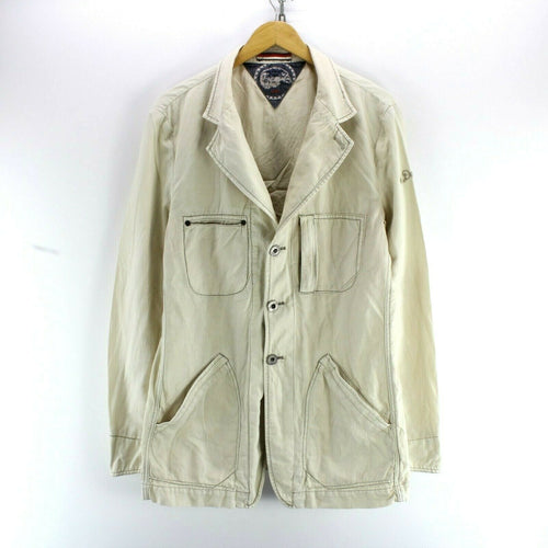 Vintage Hilfiger Denim Men's Jacket Ivory Size L Field Jacket