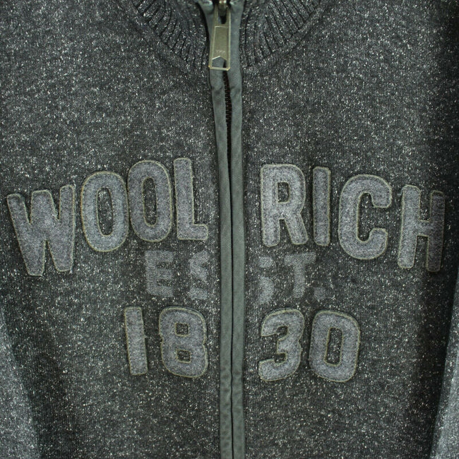 Vintage Woolrich Men's Sweatshirt Size L in Grey Zipped Wool Long Sleeve Cardigan, Sweatshirt, Woolrich, - Top-Garms