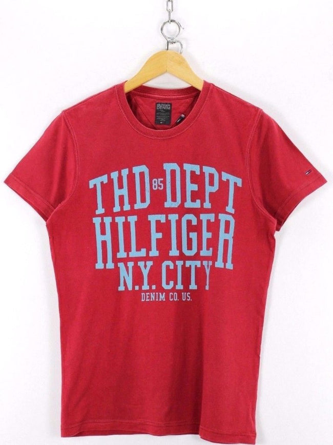 Tommy Hilfiger Mens T-Shirt, Size S Small, Red, Short Sleeve, Cotton, T-shirt, Tommy Hilfiger, - Top-Garms