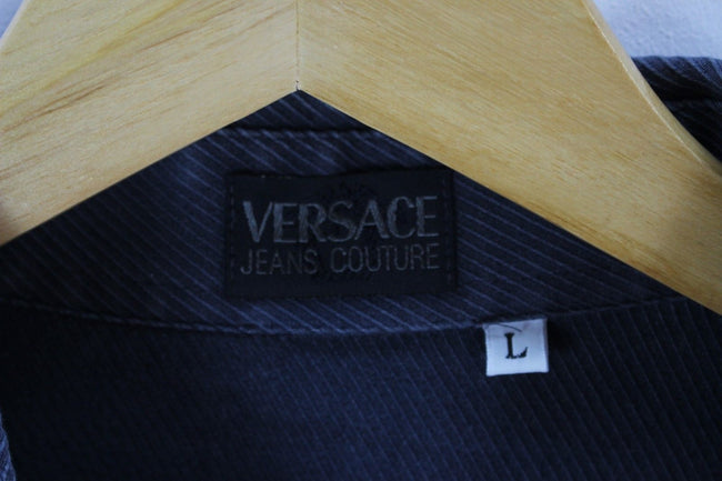 Versace Mens Shirt, Size L Large, Long Sleeve Dark Blue Cotton Party Shirt, Shirt, Versace, - Top-Garms