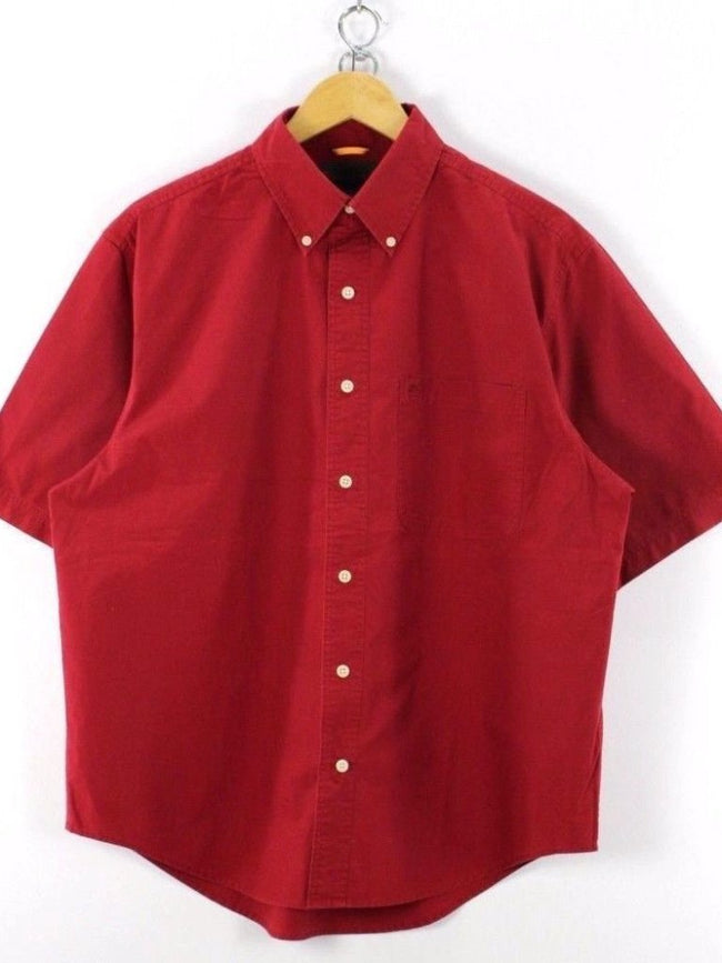 Timberland Mens Shirt, Size M medium, Red, Short Sleeve, Cotton Casual TOP, Shirt, Timberland, - Top-Garms
