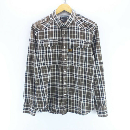 Vintage G-Star Men's Shirt in Brown Size M Long Sleeve Cotton Check Shirt