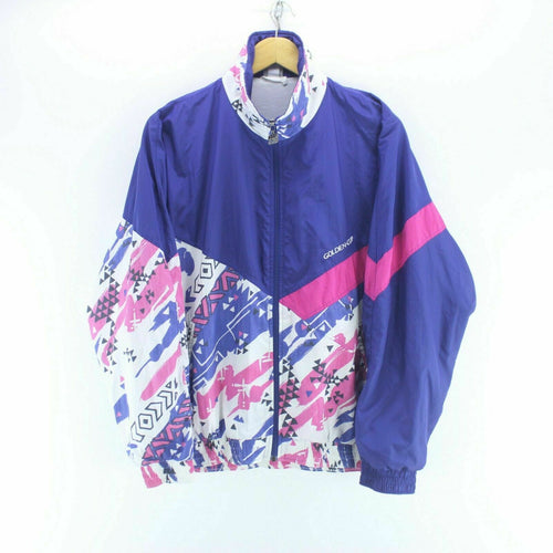 80's Vintage Shell Jacket Size S Multicolour Crazy Pattern Track Top