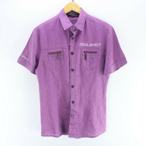 Vintage DSQUARED2 Women's Shirt in Purple Size XL Short Sleeve Linen Shirt