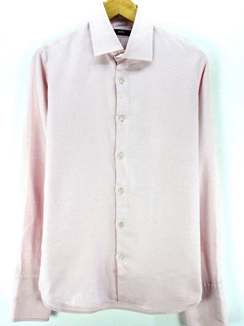 HUGO BOSS Men's Formal Shirt in Pink Size 40 15 3/4 M Pink Long Sleeve