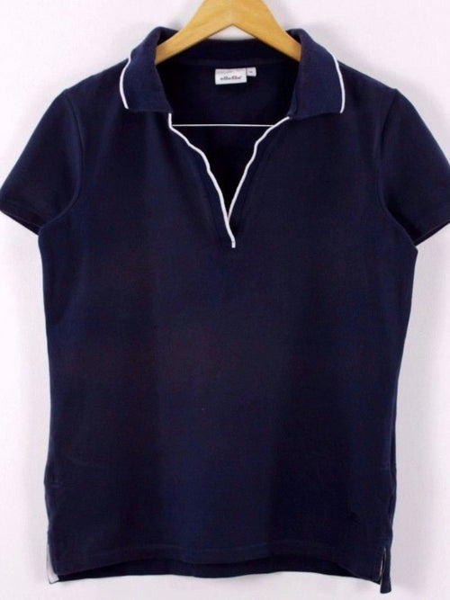Ellesse Womens Polo Shirt, Size XL, Navy Blue, Short Sleeve, Cotton