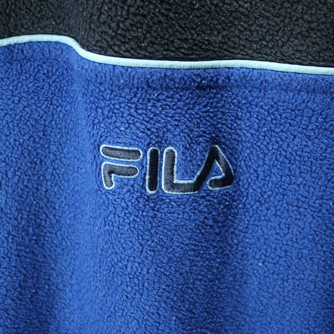 Vintage FILA Men's Fleece Sweater in Blue Size L Front Pockets Track Top EF6980