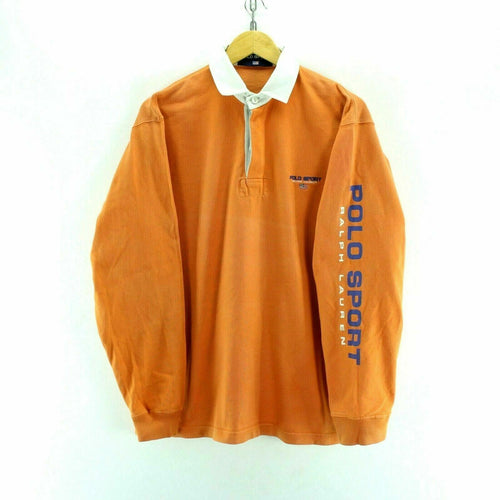 Vintage Polo Sport Men's Sweater in Orange Size S Polo Neck Retro Cotton EF3894