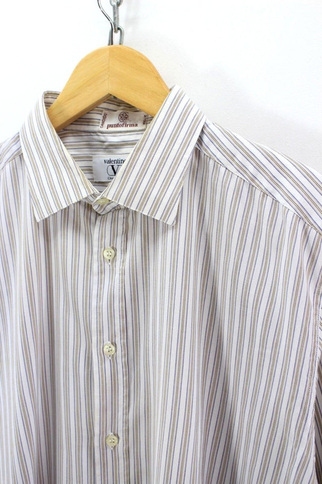 Valentino Formal Shirt, Size 16 42 1/2, Long Sleeve, striped Cotton, Formal Shirt, Valentino, - Top-Garms