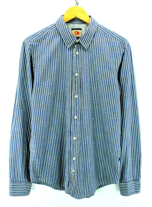 BOSS ORANGE Men's Shirt Size M Blue Striped Long Sleeve Cotton Casual