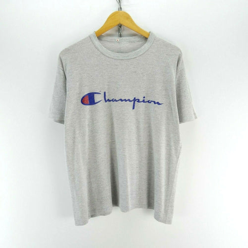 True Vintage Champion T-Shirt in Grey Size M Short Sleeve Big Logo Tee