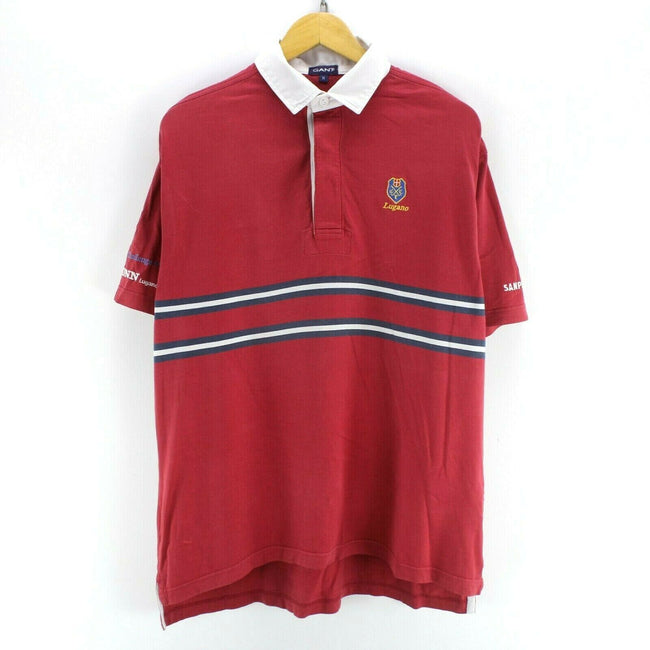 Vintage GANT Men's Polo Shirt in Red Size M Short Sleeve Cotton Top, Polo Shirt, GANT, - Top-Garms
