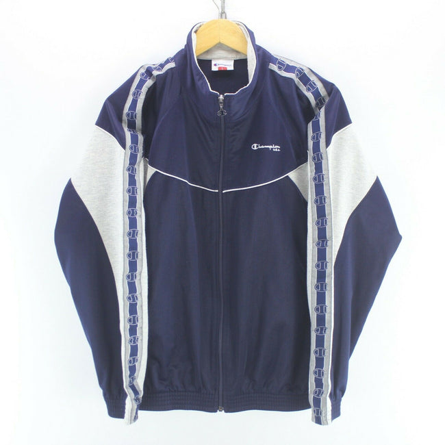 Vintage Champion Men's Track Jacket Blue Size L Long Sleeve Arm Tape Logo, Tracksuit, Champion, - Top-Garms