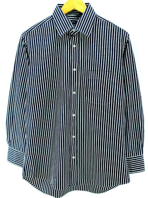HUGO BOSS Men's Formal Shirt Size M 40-15 3/4 in Blue Cotton Striped