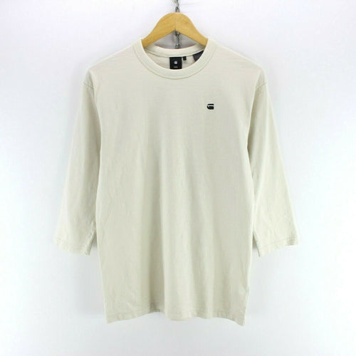 Vintage G-Star Men's T-Shirt in Ivory Size 2XS 3/4 Sleeve Crew Neck Basic