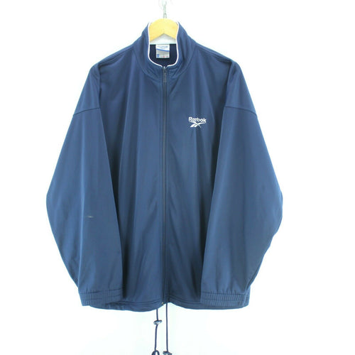 Vintage Reebok Track Jacket Blue Size XL Long Sleeve Full Zip Spellout