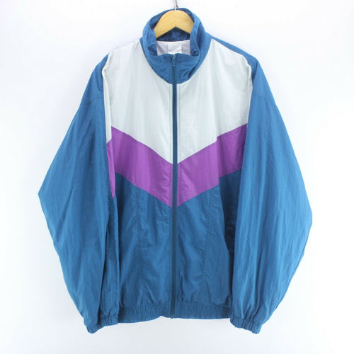 90's Vintage Track Jacket Blue Size 2XL Long Sleeve Zipped Shell Jacket